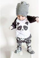 baby clothes panda - 2016 INS summer baby clothing outfits Toddler clothes Panda cotton raglan sleeve T shirts tops pants sets drop shipping