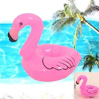 Wholesale Cute Inflatable Flamingo Drink Can Holder Swimming Pool Bath Child Floating Toys