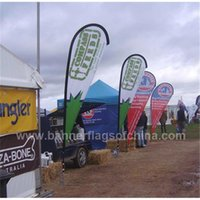 Wholesale 90x200cm Beach Flags Teardrop Shape Feather Flag Banners Double Side Outdoor Advertising Flags with Cross Feet Water Bag POS