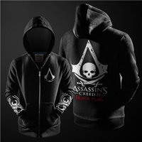 assassin s creed costume - Fashion Cosplay Costume Fleece Lined Coat Hooded Jackets Assassins Creed Hoodie Black Grey