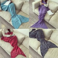 Wholesale Fast shipping Mermaid Tail Blanket Super Soft Hand Crocheted cartoon Sofa Blanket air condition blanket siesta blanket X95cm