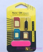 Wholesale Metal all in Nano SIM card to Micro SIM Nano Micro to mini sim adapter for iphone samsung sim card adapter set