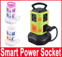 Wholesale Smart Power Socket Plug Outlet USB Ports Layer Socket Surge Protector Power Board W EU Plug