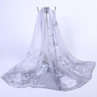 Wholesale 2016 New Women Sarongs Chiffon Floral Printed Designer Scarf Summer Beach Gradient Plaid Flower Casual Silk Scarves Long Wrap Pashmina
