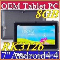 Precio de Dhl de la tableta de 8 gb-DHL libera el envío 7 pulgadas capacitiva 8GB 512MB RK3126 Quad Core Android 4.4 de doble cámara WiFi Tablet PC EPAD Youtube Facebook I-7PB