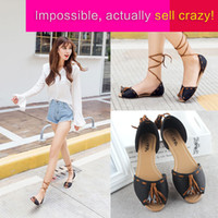 Wholesale In the autumn of new students a Korean flat with autumn Zichao Sandals Shoes Womens single fish mouth sandals