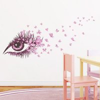 beautiful bedroom decor - Beautiful Girls Eye pink butterfly decor living room decor DIY art wall sticker home decals
