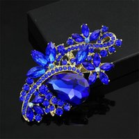 Wholesale Rhinestone Crystal Wedding Brooches Waterdrop Decorative Buckle Broach Breastpin Bouquet Decoration Dress Ornament Valentine Day Gift