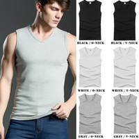 Wholesale 2016 New Wide Shoulder Strap Tank Tops For Men Cotton Solid Mens Muscle Tanks Tops Plus Size Sports Vest Shirts