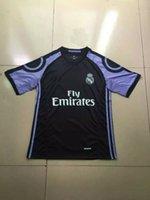 Wholesale Thai Real Madrid soccer Jersey Ronaldo James Bale Kroos MORATA RD Third Away Black Jerseys