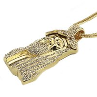 Wholesale 2016 New Iced Out JESUS Face Pendants with quot Franco Rope Chain HipHop Style Necklace Gold Plating sp