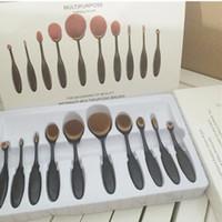 Wholesale 10PCS SETS Professional Makeup brushes oval Tooth brush Women Foundation Eye Shadow Brusher Soft Shape Curve Brushes Makeup Tools black