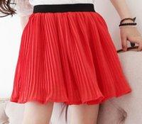 Wholesale Summer Children Red Pleated Skirt Little Girls Draped Knee Skirt