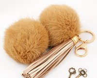 Wholesale 2016 hot fashion rabbit ball pendent PU leather fringing keychains key ring fashion accessories for bags for keys
