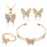 Wholesale Butterfly Bracelet ring earring necklace gold rhinestone jewelry sets fashion woman jewellry per pack CA428