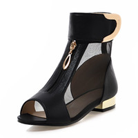 ankle boot open toe heel - Sandals Sexy Gauze Peep Toe Summer Boots Loop And Metal Decoration Design Solid Thick Heel Shoes Women Colors