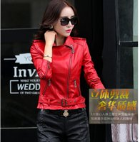 Wholesale Woman Shearling Jackets Women Leather Jacket Slim Ladies Leather Motorcycle Jacket Women Zipper Short Jacket Plus Size XL