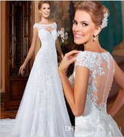 autumn embroidery designs - 2016 Customized New Design Vestido De Noiva A Line Floor Length Vintage Appliques Tulle Lace Up Backless Wedding Dress Online