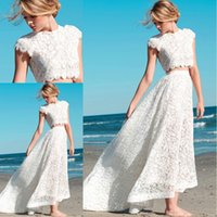backless tops shirts - 2016 Sexy Two Pieces Bohemian Wedding Dresses Lace Crop Top Vintage High Low Boho Beach Bridal Gowns Custom Made
