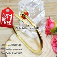 Wholesale Nail Bracelet Yellow Gold With Stones Nail Cuff Bangles Fashion Jewelry Brand Women Men L Titanium Steel And Gold Plated With Box