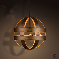 Wholesale Vintage Atom Cyclopean Wine Barrel Pendant Lights Industrial Iron Round Nordic art pendant Lamps bar restaurant Light Fixtures