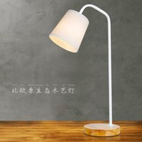 Wholesale 1 piece Modern wooden led eyeshield desk lamp The study room learning reading lamp Fashion white and black wrought iron lamp