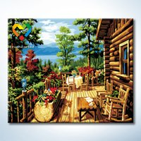 art painting with wood frame - Wood House Wall Art DIY Painting Baby Toys x60cm Infant Canvas Oil Painting Drawing Wall Art for Bar Decoration with Wooden Frame