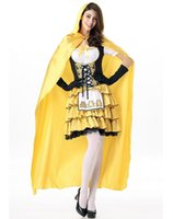 achat en gros de princesse jaune déguisement-2016 sexy costumes Helloween princesse pour les femmes jaune manteau mi-long lacets volants costumes de O38363