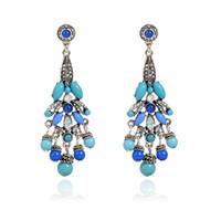 beaded hoop earrings - Bohemia Vintaeg Ears Jewelry Charm Turquoise Color Resin Stud Earrings Large Crystal Beaded Drop Earring For Women Gift