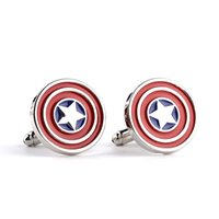 Wholesale 20 pairs superhero The Avengers Captain America Cufflink Cuff Links men shirts dress suits Cuff links sleeve button fashion jewelry