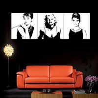 audrey hepburn canvas art - Art Large Classic Marilyn Monroe and Audrey Hepburn Picture Painting on Canvas Print without Framed Modern Home Decorations Wall Art