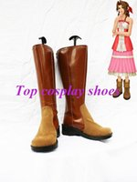 aerith cosplay - Freeshipping custom made anime Final Fantasy VII Cosplay Aerith Brown Boots shoes for Halloween Christmas festival