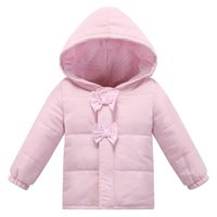 bebe winter coats - 2016 New fashion winter baby girl jacket newborn Hooded Bow pink cotton Jackets clothing newborn bebe outerwear infant winter coats