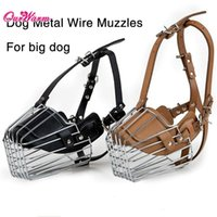 basket dog muzzle - Large Dog Muzzles Anti bite Metal Wire Basket Leather Mouth Cover Bark Chew Muzzle Pet Safety Mask Black Brown