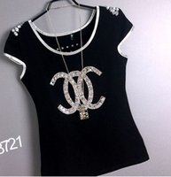 Wholesale 2016 Hot sale fashion brand designer Crop Top Slim t shirt women black white Cotton Beads Rhinestone Short Sleeve Summer t shirt styles