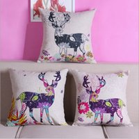 Wholesale 2016 Christmas decoration Pillow case pillowcase home supplies sofa cover bolster Reindeer Car cartoon Cotton linen quality cm