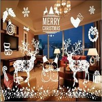 Wholesale Merry Christmas White Color Wall Sticker Wall Decoration Wall Art Designed Self Clings Stickers for Windows Christmas Window Decor