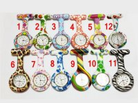 Wholesale Silicone Nurse Pocket Watch Candy Colors Zebra Leopard Prints Soft band brooch Nurse Watch patterns follower