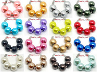 acrylic charms - 100PCS mixed PImitation Pearl Charms for Jewelry Making loose European Big Hole Acrylic Beads Fit European Bracelet Low Price
