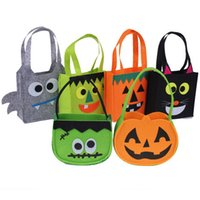 Wholesale 2016 New Halloween Smile Pumpkin Bucket Kids Lovely Candy Bag Children Handheld bag Party Supplies Trick or Treat Toys