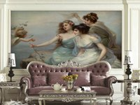 angels paints - European beauty with angel painting wallpaper non woven fabric suitable for European decor sofa TV background background