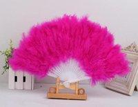 al por mayor ventiladores de baile japonés-Diez colorido japonés elegante plegable pluma mano Fan decoración de la boda Honorable Vintage Dance Fan Party Decoración