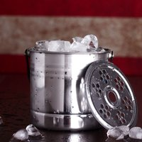 Wholesale 304 Stainless Steel Ice Cube Stones Barrel Ices Bucket Beer Wine Whiskey Cooler Champagne Chiller with Handle H029