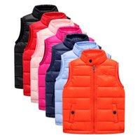 Wholesale 2016 autumn winter new children down vest down jacket vest solid color boys girls down jacket warm vest colors Outwear clothing