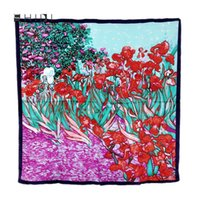 artist scarves - Brand New Luxurious Silk Square Scarf Artist Van Gogh Famous Works Oil Painting Wraps Shawls For Women Handmade Floral Scarves