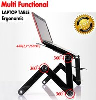 Wholesale Standing Laptop Tray - 360 Degree Portable Folding Metal Laptop Notebook Computer Stand Table Desk Bed Office Sofa Tray Notebook Computer desk