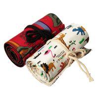 animal roller bag - Holes Cute Cartoon Animal Canvas Roll Up Pencil Case Fabric Roller Bag Girl Pen Brush Bag School Supplies Color Randomly