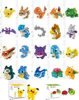 Wholesale Full Set Mini figure Anime game cartoon pikachu bricks Squirtle Charmander plastic building block set educational toy