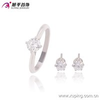 Wholesale Elegant Wedding Jewelry Set Ring Earrings Stud Rhodium Plated Jewelry Sets For Women Xuping Copper Jewlery
