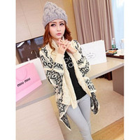 beige cardigan sweater for women - New Fashion Long Sleeve Warm Cardigans Beige Knitting Overcoat Geometry Print Sweater for Female Cheap Price